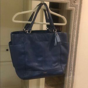 Blue Coach tote pebbled leather
